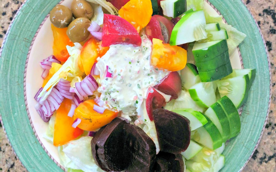 Greens with Creamy Cashew Herb Dressing